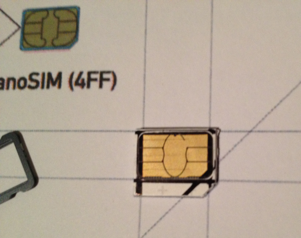 how to put a cut sim card in an iphone