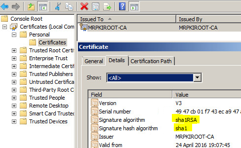 Upgrading your Internal PKI Infrastructure from SHA1 to SHA2